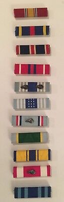 """MILITARY RIBBONS: USA LOT OF 11 RIBBONS, w/ Silver and Bronze Leaves - 3/8"""" X"""