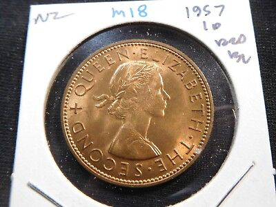 M18 New Zealand 1957 Penny BU Red