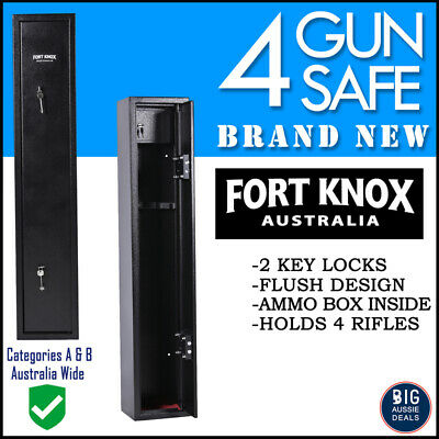4 Gun Safe Firearm Rifle Storage Lock Box Steel Cabinet Fort Knox Black Key Only