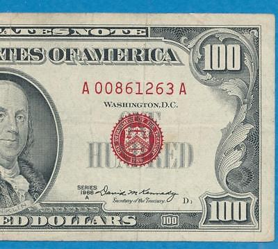 $100 1966-A Scarce Red Seal Legal Tender United States Note Very Fine
