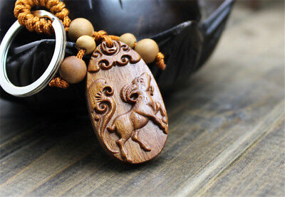 Wood Carving Chinese Zodiac Sheep Statue Sculpture Pendant Key Chain