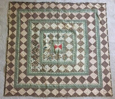 Early Antique Hand Sewn CHINTZ Quilt BLOCK Textile AAFA Early Fabric