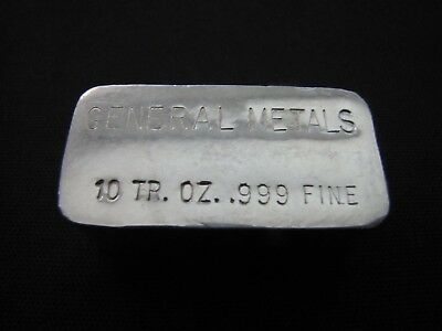 General Metals Vintage 10 Troy oz. 999 Fine Silver Bar