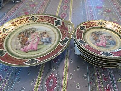 Royal Vienna Porcelain Sweets Plate And Six Small Plates Allegory Scene Exc
