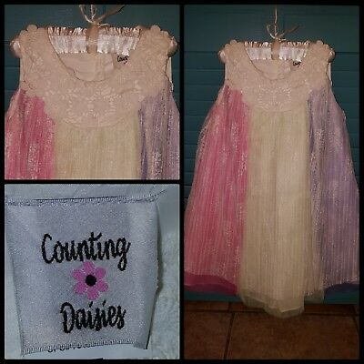 NWOT Counting Daisies Colorful Fancy Party Dress Pink Purple Green Yellow Size 5