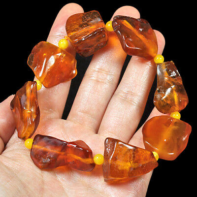 26.6g 100% Natural Genuine Antique Baltic Golden Amber Bead Bracelet RLb345