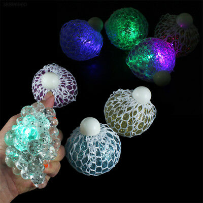 Glowing Mesh Squishy Squeeze Ball Grape Toy Lot Anti Stress Relief Reliever