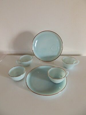 Vtg FIRE KING Turquoise Blue Hostess Delight Snack 4 Cups 2 Plates 22k Gold Trim