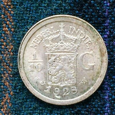 Netherlands East Indies Indonesia 1/10 Guilder 1928 - Nice XF, Silver