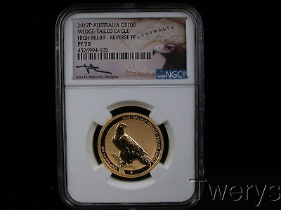 2017-P Australia Gold $100 Wedge Tailed Eagle High Relief Reverse Pf Ngc Pf 70