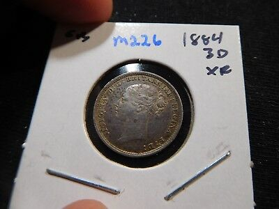M226 Great Britain 1884 3 Pence XF