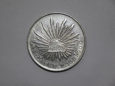 Mexico 1896 Zs Fz 8 Reales Silver Crown Size Type World Coin Collection Lot #xxx