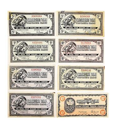 Vintage LOT of 8 1960's 5 10 25 Cents Canadian Tire Banknotes