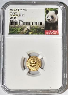 2000 China 5 Yuan Frosted Ring Gold Panda Coin NGC/NCS MS69 Rare!! Conserved!!