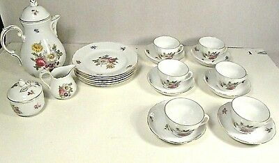 Antique Oscar Schaller & Co 21pc porcelain tea service Meissen Gardens 1918 mark