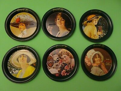 Set Of Six Reproduction Of Old Coca Cola Tray Victorian Ladies Metal Coasters