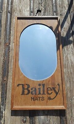 Vintage Bailey Hats Store Mirror Sign Cowboy Hat Clothing Workwear Western Wear