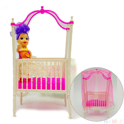 Sweet Sweet Crib For Barbie Furniture Kelly Doll's Baby Bed Doll Accessories