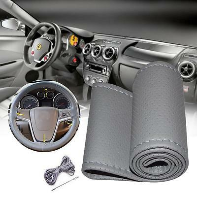 Car Truck PU Leather Steering Wheel Cover With Needles and Thread DIY Gray UP