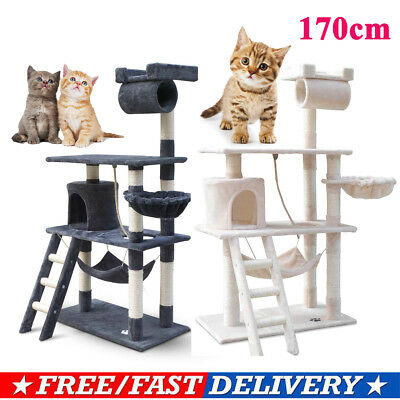 141cm Cat Scratching Tree Post Tower Pole House Condo Play Toy Bed Furniture AUS