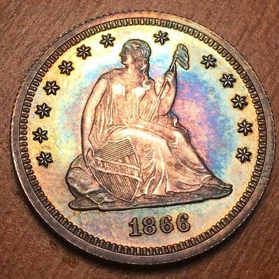 1866 Seated Liberty Quarter Super Gem Pr or PROOF coin on holder super colle