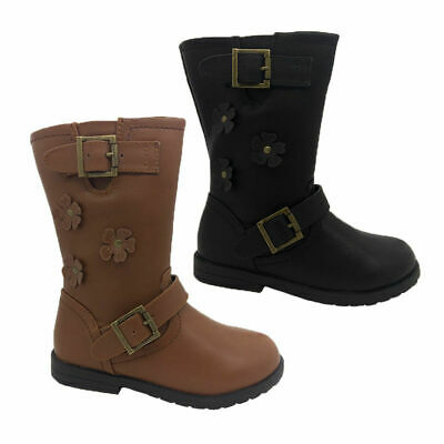 Girls Boots Grosby Jae Mid Calf Boot Flower Strap Details Zip up New Size 10-4