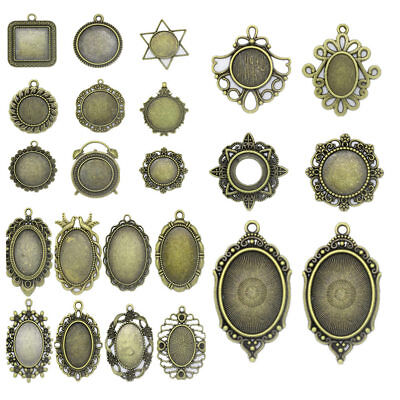 21 Kinds Antique Bronze Cameo Cabochon Base Setting DIY Pendant Jewelry Crafts