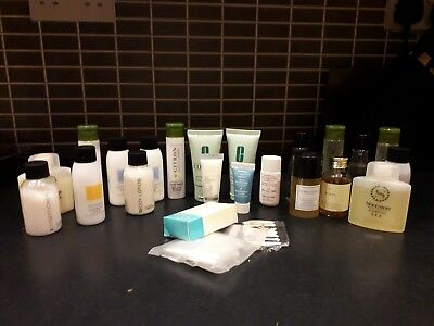 Travel toiletries & samples Clarins, Clinique,  & various hotel brands bundle
