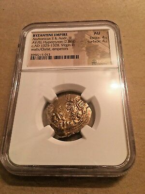 Byzantine Empire Ancient Gold Coin Adronicus II & III Hyperpyron NGC AU 4/4