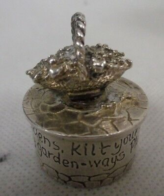 Small Silver Plate Pill Box - With Flower Basket On The Lid             (Tol)