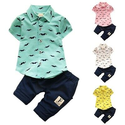 2PCS Toddler Baby Boys T-shirt Tops+Shorts Pants Gentleman Outfits Clothes Set