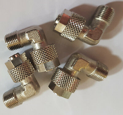 """Set of 4 Aignep 8/6mm to 1/8"""" BSP Pneumatic Elbow Push-On Fitting C5-8/6-1/8"""