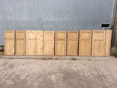 A SET OF 8 RECLAIMED STRIPPED PINE CUPBOARD DOORS IDEAL FOR KITCHEN ref 980