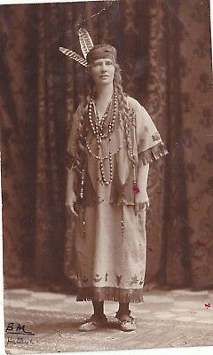 Vintage Old Photo Lady Dressed As A Red Indian Dress Beads Feathers Sept 1918