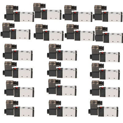 """1/4"""" BSPT 5 Way 2 Position Pneumatic Solenoid Air Valve DC 24V and AC 220V"""