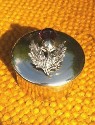 SCOTTISH THISTLE HALLMARKED TRINKET POT/RING BOX DATING FROM 1920s