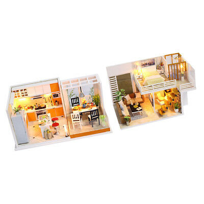 DIY Handcraft LED Wooden Dollhouse Miniature Furniture Kits Toy Doll House