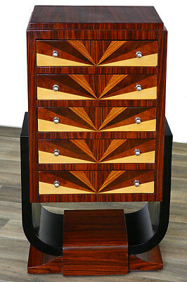 US-TROPICAL DECO 5-DRAWER COMMODE, Art déco SCHUBLADENKOMMODE, EDELHOLZ furniert