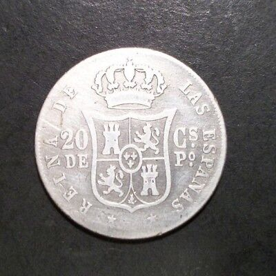 Philippines (Spain) 1864 20 Centimos Silver Coin