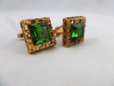 Stylish Vintage Retro Gold Metal Emerald Green Glass Square Cufflinks 1970's
