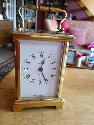 Carriage Clock,brass 8 Day,french'jean Renet'key Wound Works Well,good Condition