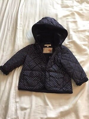 Marks And Spencers Indigo Quilted Girls Coat 12-18