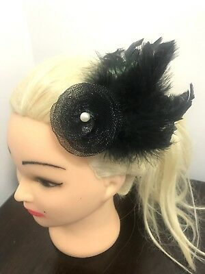 Black Pearl Feather Hair Net Flower Beak Fascinator Corsage Wedding