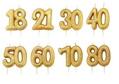 9cm GOLD GLITTER NUMERAL CANDLE 18 21 30 40 50 60 70 80 BIRTHDAY CAKE DECORATION