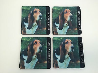 Set of 4 Barbara Augello 1994 Basset Hound Lover Photo Coasters Square Rubber