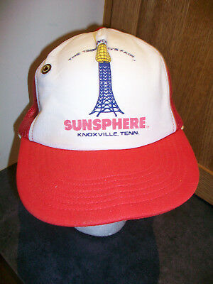 1982 World's Fair Sunsphere RED Trucker Hat Cap Knoxville, TN RARE Made U.S.A.