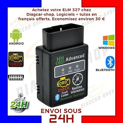 HH OBD BLUETOOTH ELM327 Interface diagnostic multimarque PC Android OBD Vgate