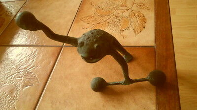 Collectable very rare weightlifting brass frog