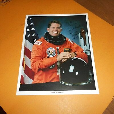 David C Leestma is a former American astronaut + retired Navy Hand Signed Photo