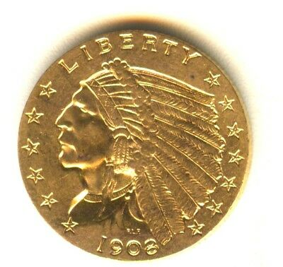1908 Indian Quarter Eagle $2.50 Gold Uncirculated Eagle Early Gold Coin MS